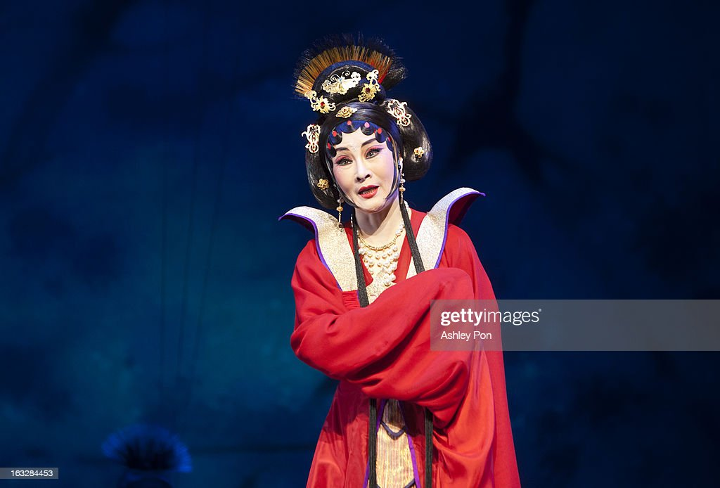 Wei Hai Ming of the Taiwan Guoguang Opera Company performs scenes from the 'Flowing Sleeves and Rouge' as part of the Taiwan International Festival of the Arts at the National Theatre on March 7, 2013 in Taipei, Taiwan.
