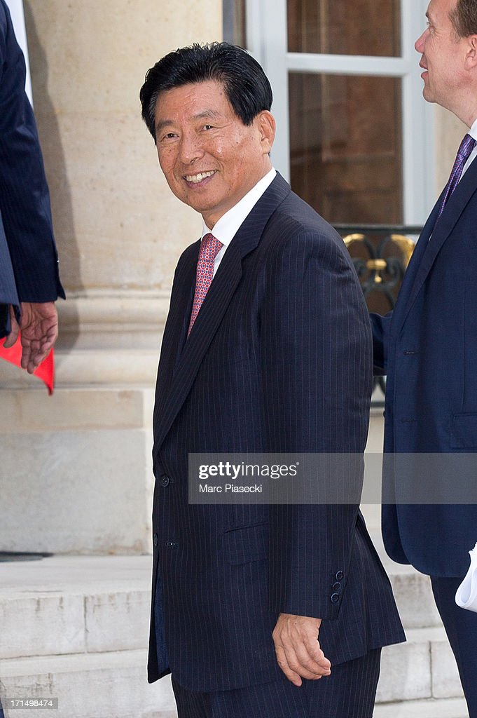Wei Jiafu, Chairman of the Board, Party Secretary, China Ocean Shipping Group Co. arrives to attend a dinner at Elysee Palace on June 25, 2013 in Paris, France.