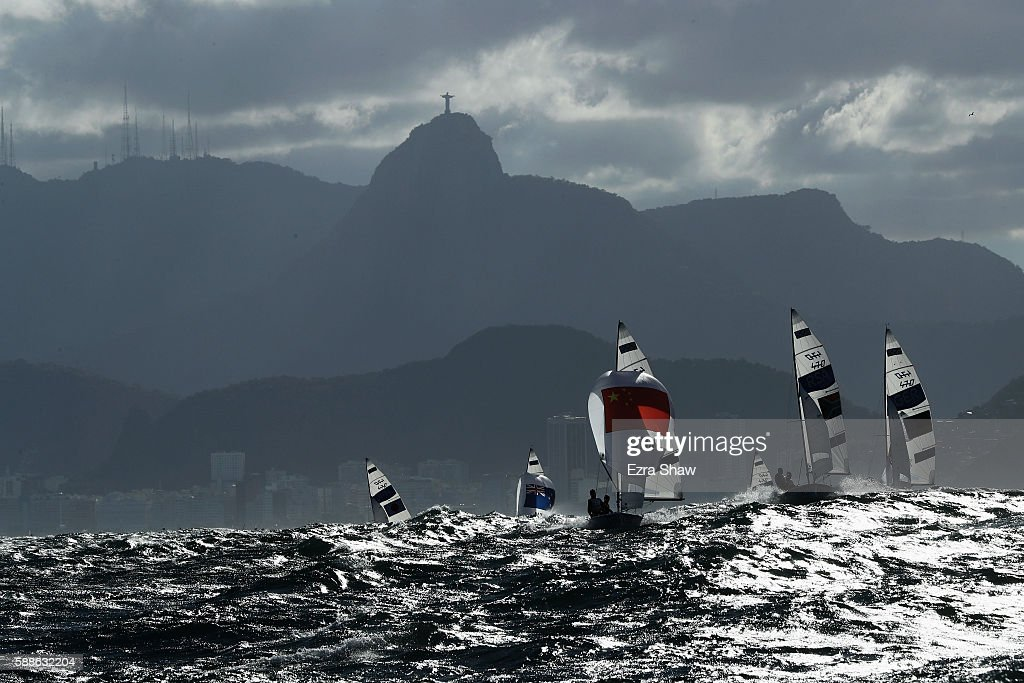 Wei Wang of China and Zangjun Xu of China compete in the Men's 470 class on Day 6 of the Rio 2016 Olympics at Marina da Gloria on August 11 2016 in...