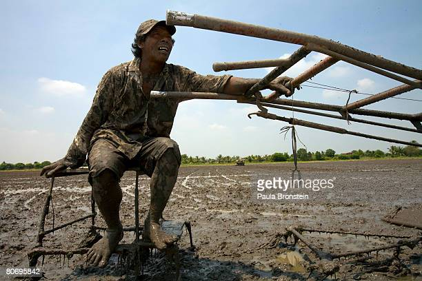 Weicharn a rice farmer takes a breath in the hot sun while plowing his rice field before planting a new crop April 16 2008 in Ayutthaya Thailand...
