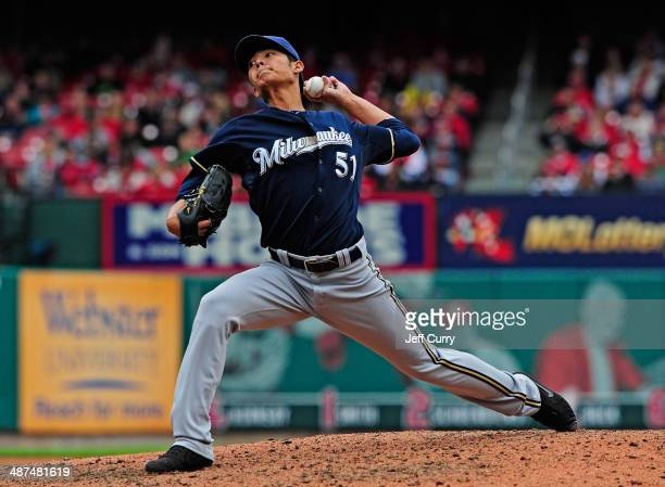 WeiChung Wang of the Milwaukee Brewers throws to a St Louis Cardinals batter during the fourth inning at Busch Stadium on April 30 2014 in St Louis...