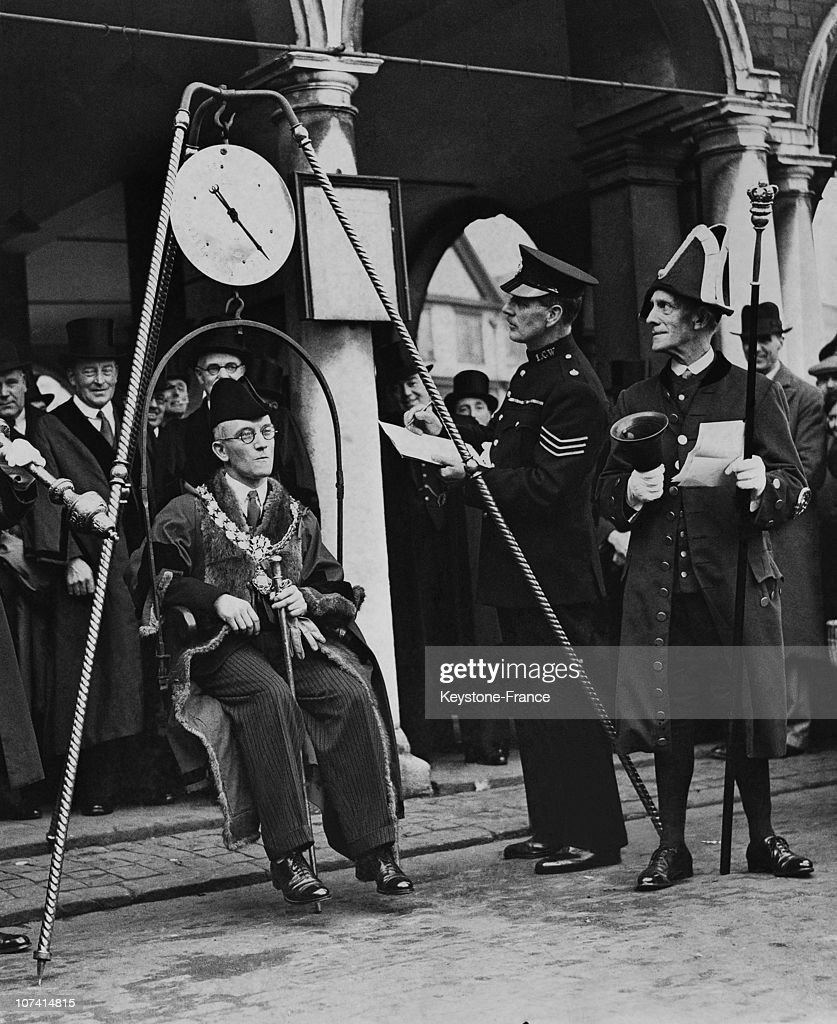 Weighing The New Mayor Of High Wycombe In United Kingdom On 1937