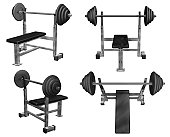 Weight Bench Four Views Isolated (3D)