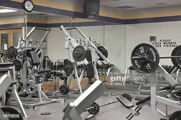 Weight room with various machines