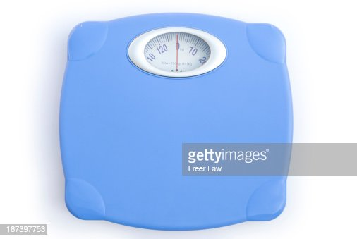 weight scale on white with clipping path : Stockfoto