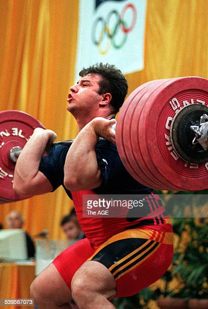 Weightlifter Stefan Botev trains in Hawthorn 4 May 1996 THE AGE SPORT Picture by ANGELA WYLIE