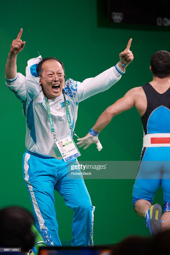 2016 Summer Olympics Kazakhstan Nijat Rahimov's coach victorious after winning Men's 77kg Preliminary Round Group A Final at Riocentro Rahimov set...