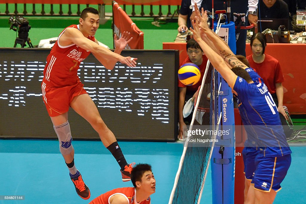Weijun Zhong #7 of China spikes the ball during the Men's World Olympic Qualification game between China and France at Tokyo Metropolitan Gymnasium on May 28, 2016 in Tokyo, Japan.