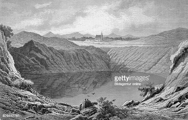 Weinfelder maar lake in the eifel region rhinelandpalatinate germany historic wood engraving ca 1880