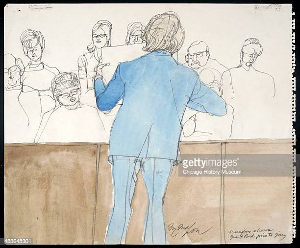 Weinglass showing pictures to jury in a courtroom illustration during the trial of the Chicago Eight Chicago Illinois late 1969 or early 1970 The...