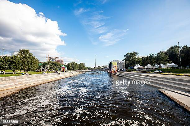 Weir on river Iset, Yekaterinburg, Siberia, Russia