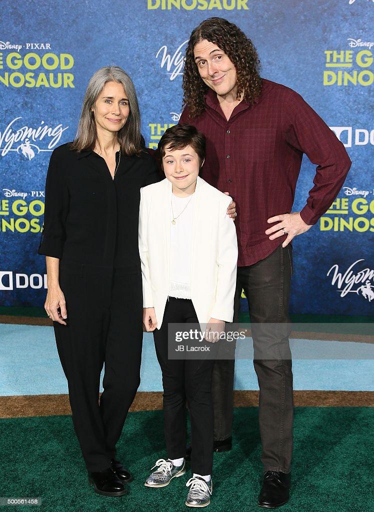 Weird Al Yankovic and Suzanne Krajewski arrive at the premiere of Disney-Pixar's 'The Good Dinosaur' on November 17, 2015 in Hollywood, California.