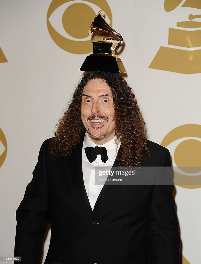 Weird Al Yankovic poses in the press room at the 57th GRAMMY Awards at Staples Center on February 8, 2015 in Los Angeles, California.