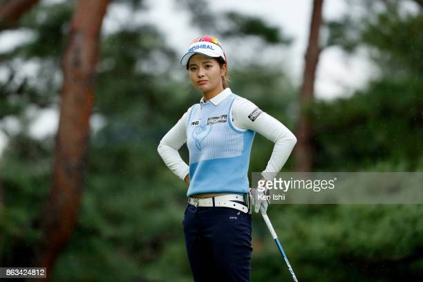 Weiwei Zhang of China watches on the 11th hole during the final round of the Kyoto Ladies Open at the Joyo Country Club on October 20 2017 in Joyo...