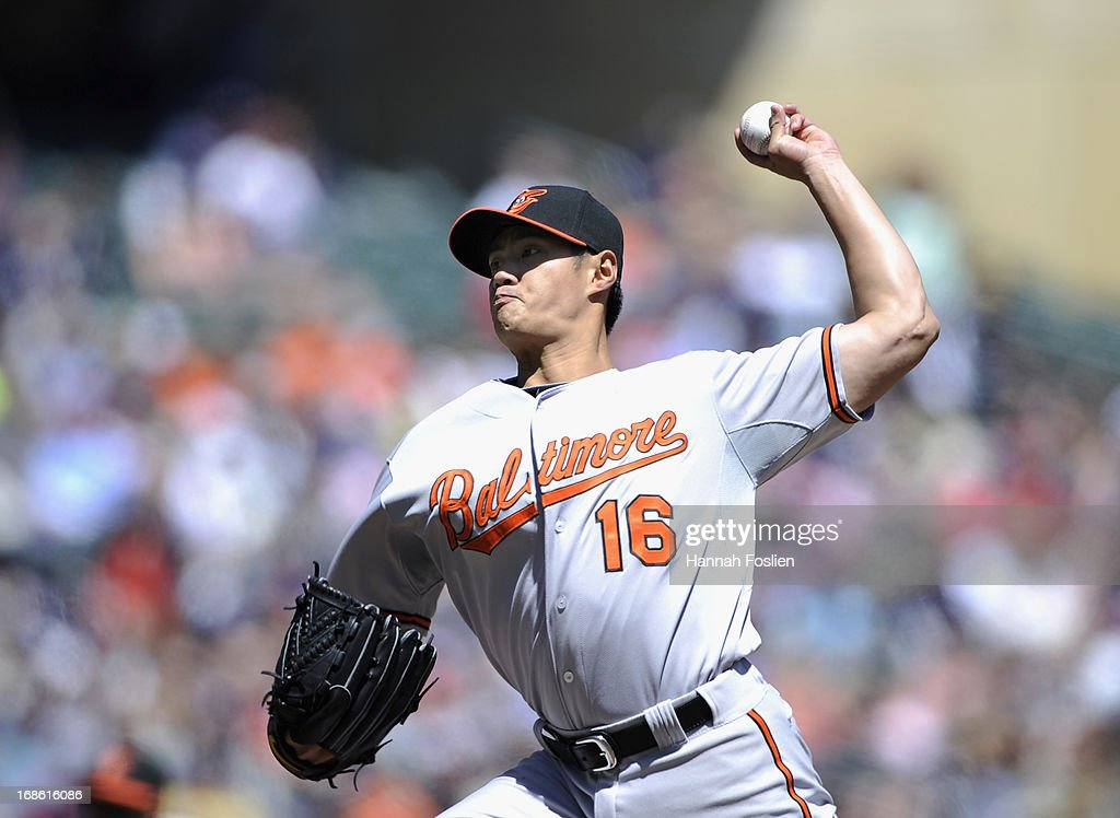 <a gi-track='captionPersonalityLinkClicked' href=/galleries/search?phrase=Wei-Yin+Chen&family=editorial&specificpeople=8958243 ng-click='$event.stopPropagation()'>Wei-Yin Chen</a> #16 of the Baltimore Orioles delivers a pitch against the Minnesota Twins during the first inning of the game on May 12, 2013 at Target Field in Minneapolis, Minnesota.