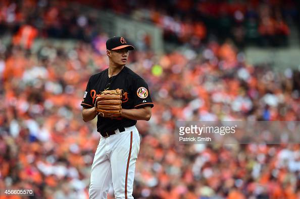 WeiYin Chen of the Baltimore Orioles looks on against the Detroit Tigers during Game Two of the American League Division Series at Oriole Park at...