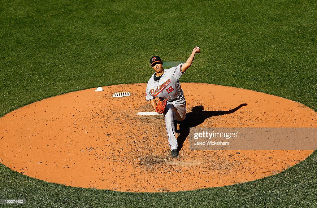 <a gi-track='captionPersonalityLinkClicked' href=/galleries/search?phrase=Wei-Yin+Chen&family=editorial&specificpeople=8958243 ng-click='$event.stopPropagation()'>Wei-Yin Chen</a> #16 of the Baltimore Orioles pitches against the Boston Red Sox during the Opening Day game on April 8, 2013 at Fenway Park in Boston, Massachusetts.
