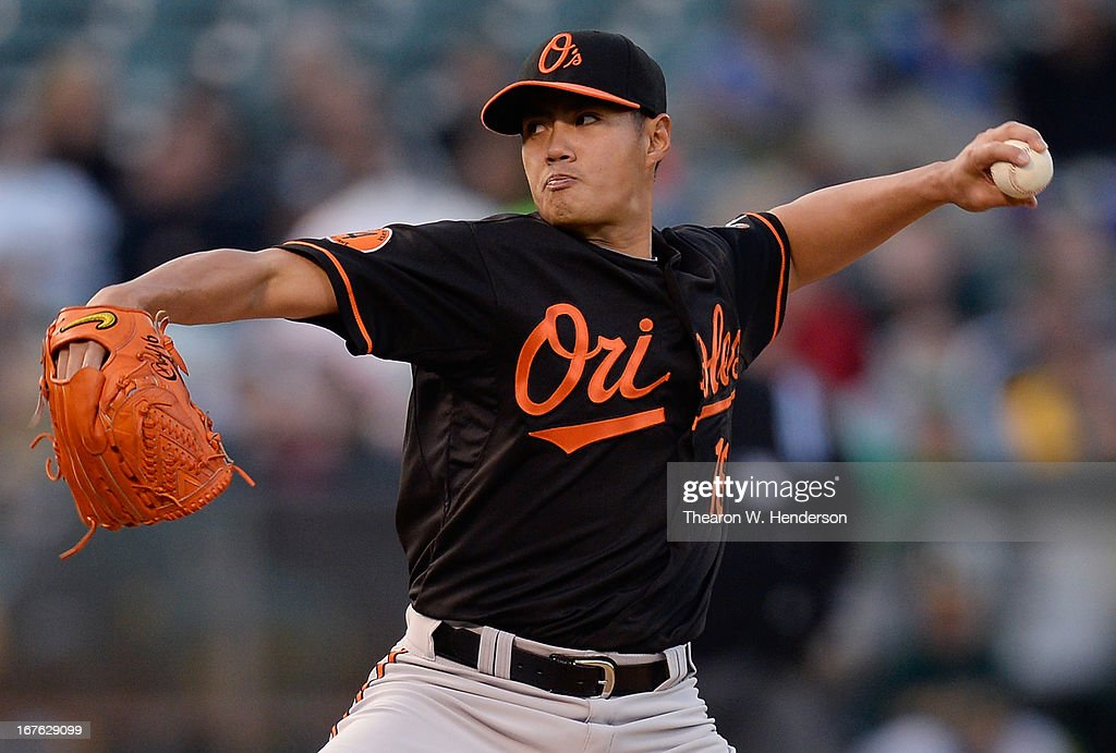 Wei-Yin Chen #16 of the Baltimore Orioles pitches against the Oakland Athletics in the first inning at O.co Coliseum on April 26, 2013 in Oakland, California.