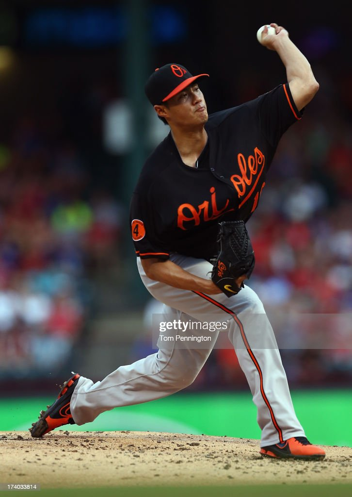 <a gi-track='captionPersonalityLinkClicked' href=/galleries/search?phrase=Wei-Yin+Chen&family=editorial&specificpeople=8958243 ng-click='$event.stopPropagation()'>Wei-Yin Chen</a> #16 of the Baltimore Orioles pitches against the Texas Rangers in the bottom of the first inning at Rangers Ballpark in Arlington on July 19, 2013 in Arlington, Texas.