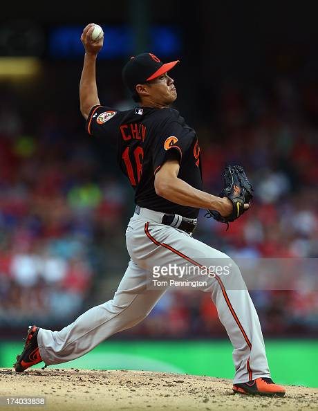 WeiYin Chen of the Baltimore Orioles pitches against the Texas Rangers in the bottom of the first inning at Rangers Ballpark in Arlington on July 19...
