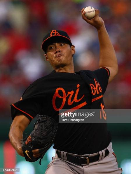 WeiYin Chen of the Baltimore Orioles pitches against the Texas Rangers in the bottom of the fourth inning at Rangers Ballpark in Arlington on July 19...