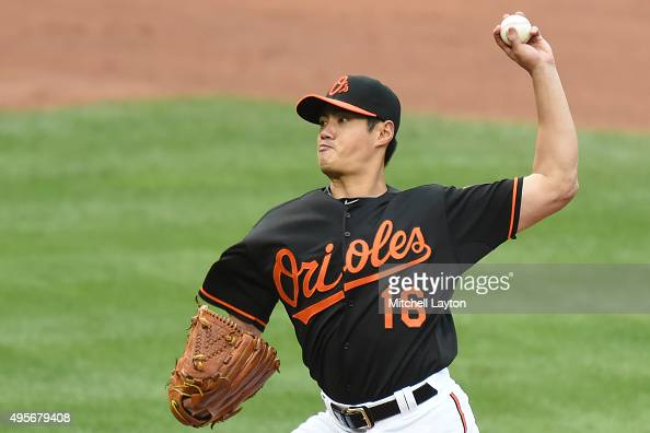 WeiYin Chen of the Baltimore Orioles pitches during game one of a baseball game against the New York Yankees at Oriole Park at Camden Yards on...