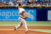 WeiYin Chen of the Baltimore Orioles pitches during the first inning of a game against the Tampa Bay Rays on July 26 2015 at Tropicana Field in St...