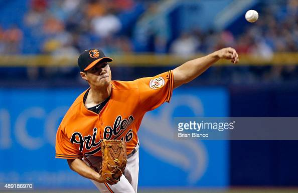 WeiYin Chen of the Baltimore Orioles pitches during the first inning of a game against the Tampa Bay Rays on September 19 2015 at Tropicana Field in...