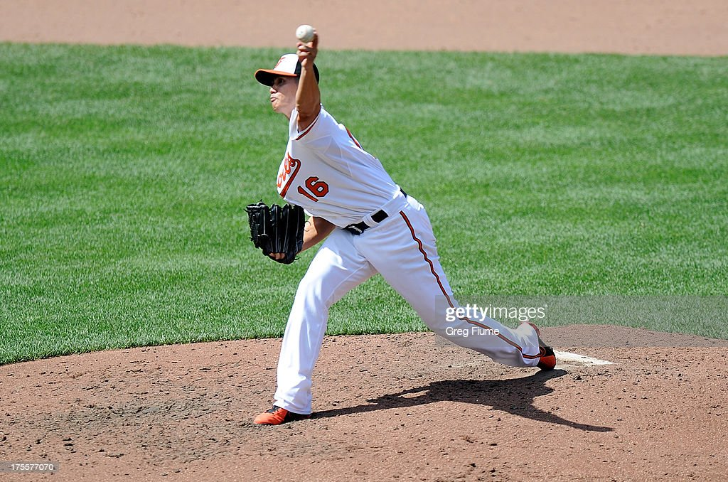 <a gi-track='captionPersonalityLinkClicked' href=/galleries/search?phrase=Wei-Yin+Chen&family=editorial&specificpeople=8958243 ng-click='$event.stopPropagation()'>Wei-Yin Chen</a> #16 of the Baltimore Orioles pitches in the fifth inning against the Seattle Mariners at Oriole Park at Camden Yards on August 4, 2013 in Baltimore, Maryland.