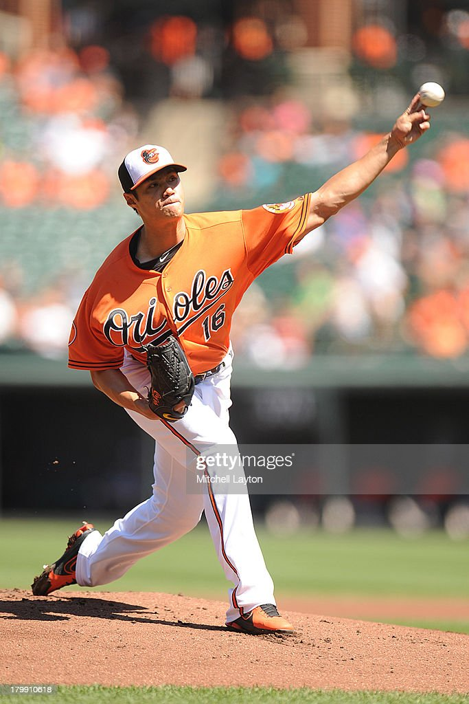 <a gi-track='captionPersonalityLinkClicked' href=/galleries/search?phrase=Wei-Yin+Chen&family=editorial&specificpeople=8958243 ng-click='$event.stopPropagation()'>Wei-Yin Chen</a> #16 of the Baltimore Orioles pitches in the first inning during a baseball game against the Chicago White Sox on September 7, 2013 at Oriole Park at Camden Yards in Baltimore, Maryland.
