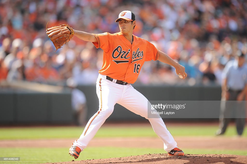 <a gi-track='captionPersonalityLinkClicked' href=/galleries/search?phrase=Wei-Yin+Chen&family=editorial&specificpeople=8958243 ng-click='$event.stopPropagation()'>Wei-Yin Chen</a> #16 of the Baltimore Orioles pitches in the first inning during a baseball game against the Tampa Bay Rays on June 28, 2014 at Oriole Park at Camden Yards in Baltimore, Maryland. The Rays won 5-4.