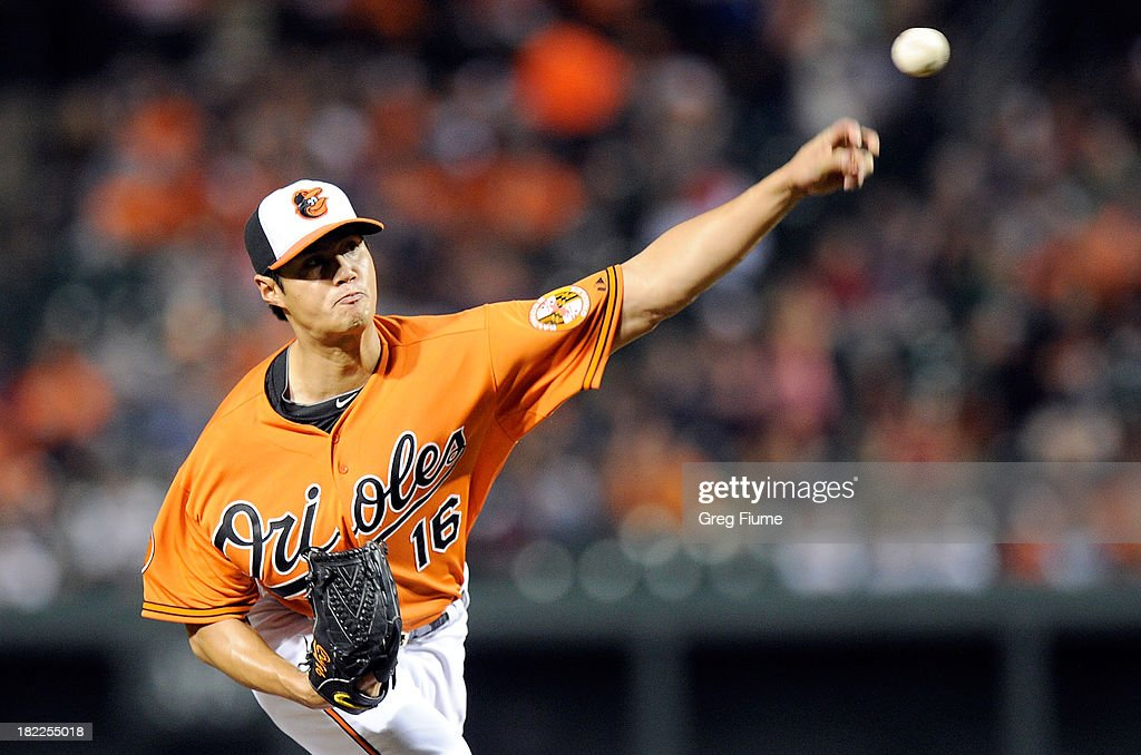 <a gi-track='captionPersonalityLinkClicked' href=/galleries/search?phrase=Wei-Yin+Chen&family=editorial&specificpeople=8958243 ng-click='$event.stopPropagation()'>Wei-Yin Chen</a> #16 of the Baltimore Orioles pitches in the first inning against the Boston Red Sox at Oriole Park at Camden Yards on September 28, 2013 in Baltimore, Maryland.