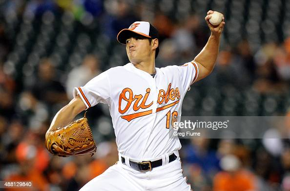 WeiYin Chen of the Baltimore Orioles pitches in the first inning against the Kansas City Royals at Oriole Park at Camden Yards on September 13 2015...