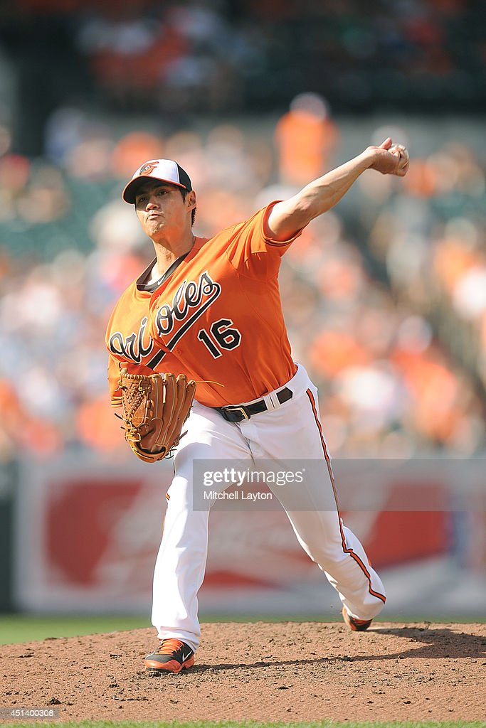 <a gi-track='captionPersonalityLinkClicked' href=/galleries/search?phrase=Wei-Yin+Chen&family=editorial&specificpeople=8958243 ng-click='$event.stopPropagation()'>Wei-Yin Chen</a> #16 of the Baltimore Orioles pitches in the forth inning during a baseball game against the Tampa Bay Rays on June 28, 2014 at Oriole Park at Camden Yards in Baltimore, Maryland.