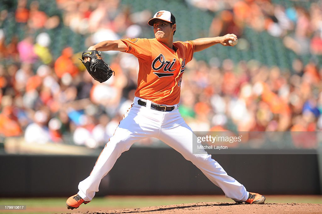 <a gi-track='captionPersonalityLinkClicked' href=/galleries/search?phrase=Wei-Yin+Chen&family=editorial&specificpeople=8958243 ng-click='$event.stopPropagation()'>Wei-Yin Chen</a> #16 of the Baltimore Orioles pitches in the second inning during a baseball game against the Chicago White Sox on September 7, 2013 at Oriole Park at Camden Yards in Baltimore, Maryland.