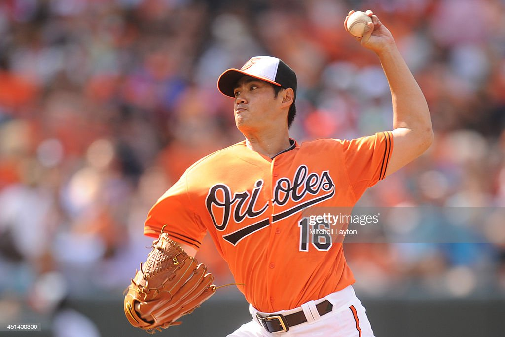 <a gi-track='captionPersonalityLinkClicked' href=/galleries/search?phrase=Wei-Yin+Chen&family=editorial&specificpeople=8958243 ng-click='$event.stopPropagation()'>Wei-Yin Chen</a> #16 of the Baltimore Orioles pitches in the second inning during a baseball game against the Tampa Bay Rays on June 28, 2014 at Oriole Park at Camden Yards in Baltimore, Maryland.