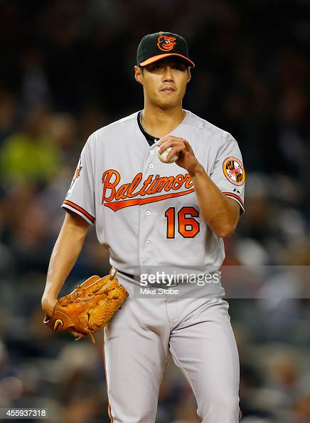 WeiYin Chen of the Baltimore Orioles pitches in the second inning against the New York Yankees at Yankee Stadium on September 22 2014 in the Bronx...
