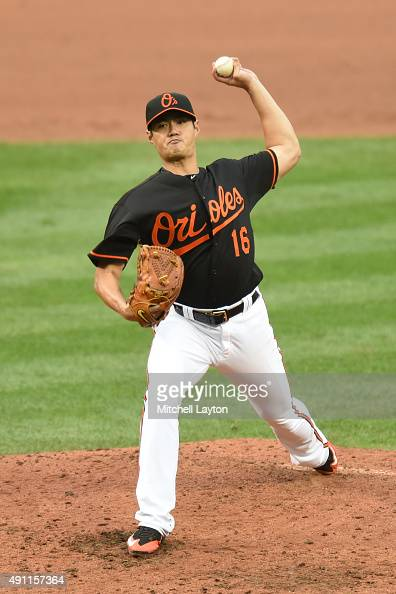 WeiYin Chen of the Baltimore Orioles pitches in the sixth inning during game one of a baseball game against the New York Yankees at Oriole Park at...