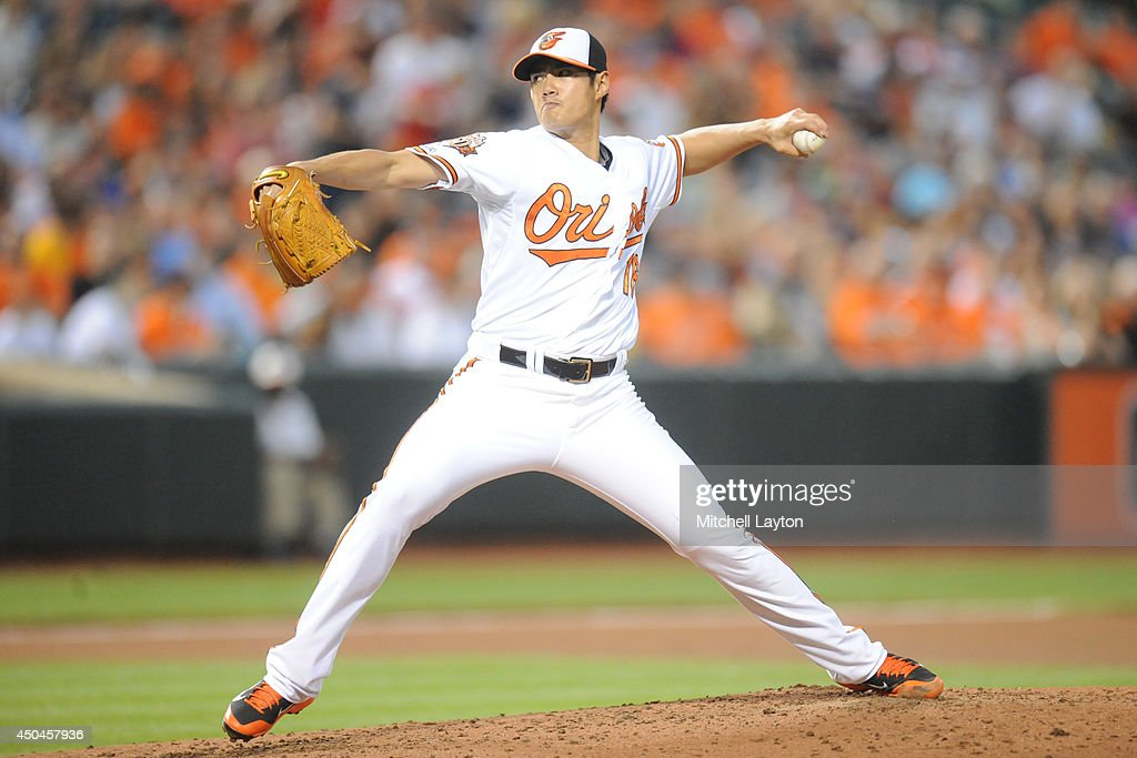 <a gi-track='captionPersonalityLinkClicked' href=/galleries/search?phrase=Wei-Yin+Chen&family=editorial&specificpeople=8958243 ng-click='$event.stopPropagation()'>Wei-Yin Chen</a> #16 of the Baltimore Orioles pitches in third inning during a baseball game against the Boston Red Sox on June 11, 2014 at Oriole Park at Camden Yards in Baltimore, Maryland.