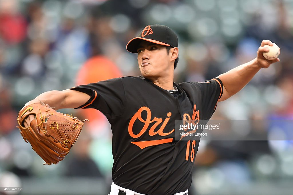 <a gi-track='captionPersonalityLinkClicked' href=/galleries/search?phrase=Wei-Yin+Chen&family=editorial&specificpeople=8958243 ng-click='$event.stopPropagation()'>Wei-Yin Chen</a> #16 of the Baltimore Orioles pitches in third inning during game one of a baseball game against the New York Yankees at Oriole Park at Camden Yards on October 3, 2015 in Baltimore, Maryland.