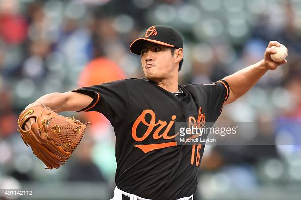 WeiYin Chen of the Baltimore Orioles pitches in third inning during game one of a baseball game against the New York Yankees at Oriole Park at Camden...