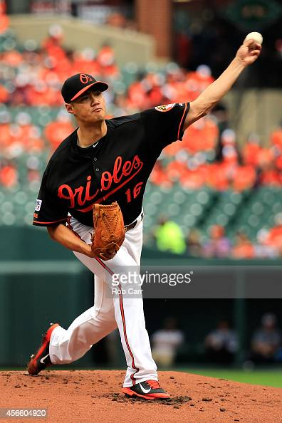 WeiYin Chen of the Baltimore Orioles throws a pitch against the Detroit Tigers during Game Two of the American League Division Series at Oriole Park...