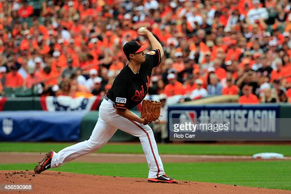 WeiYin Chen of the Baltimore Orioles throws a pitch in the first inning against the Detroit Tigers during Game Two of the American League Division...