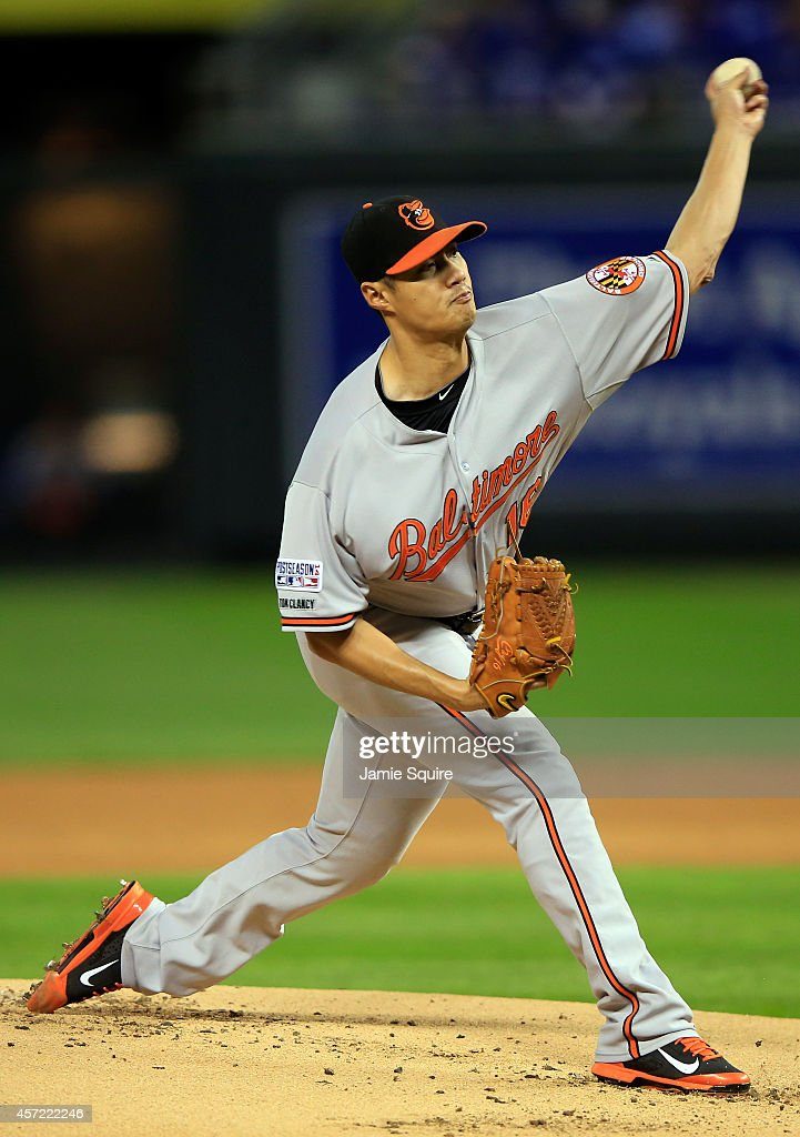 <a gi-track='captionPersonalityLinkClicked' href=/galleries/search?phrase=Wei-Yin+Chen&family=editorial&specificpeople=8958243 ng-click='$event.stopPropagation()'>Wei-Yin Chen</a> #16 of the Baltimore Orioles throws a pitch in the first inning against the Kansas City Royals during Game Three of the American League Championship Series at Kauffman Stadium on October 14, 2014 in Kansas City, Missouri.