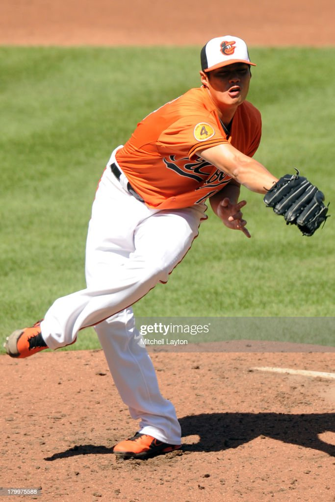 <a gi-track='captionPersonalityLinkClicked' href=/galleries/search?phrase=Wei-Yin+Chen&family=editorial&specificpeople=8958243 ng-click='$event.stopPropagation()'>Wei-Yin Chen</a> #16 of the Baltimore Orioles tries to field a line drive during the third inning of a baseball game against the Chicago White Sox on September 7, 2013 at Oriole Park at Camden Yards in Baltimore, Maryland.