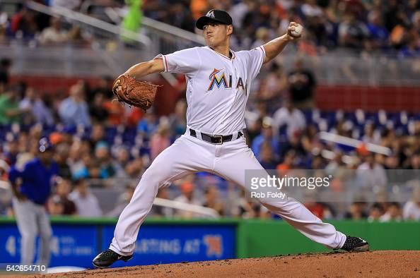 WeiYin Chen of the Miami Marlins delivers a pitch during the second inning of the game against the Chicago Cubs at Marlins Park on June 23 2016 in...