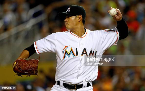 WeiYin Chen of the Miami Marlins pitches during 2016 Opening Day against the Detroit Tigers at Marlins Park on April 5 2016 in Miami Florida