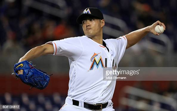 WeiYin Chen of the Miami Marlins pitches during a game against the Washington Nationals at Marlins Park on September 19 2016 in Miami Florida