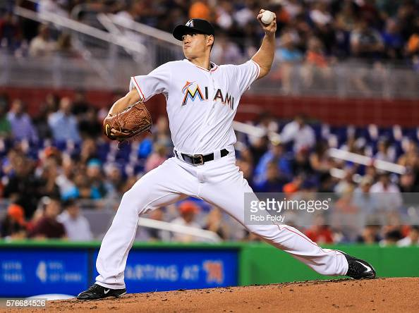 WeiYin Chen of the Miami Marlins pitches during the game against the Chicago Cubs at Marlins Park on June 23 2016 in Miami Florida