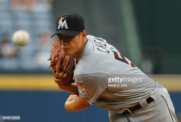 WeiYin Chen of the Miami Marlins pitches in the first inning against the Atlanta Braves at Turner Field on June 30 2016 in Atlanta Georgia